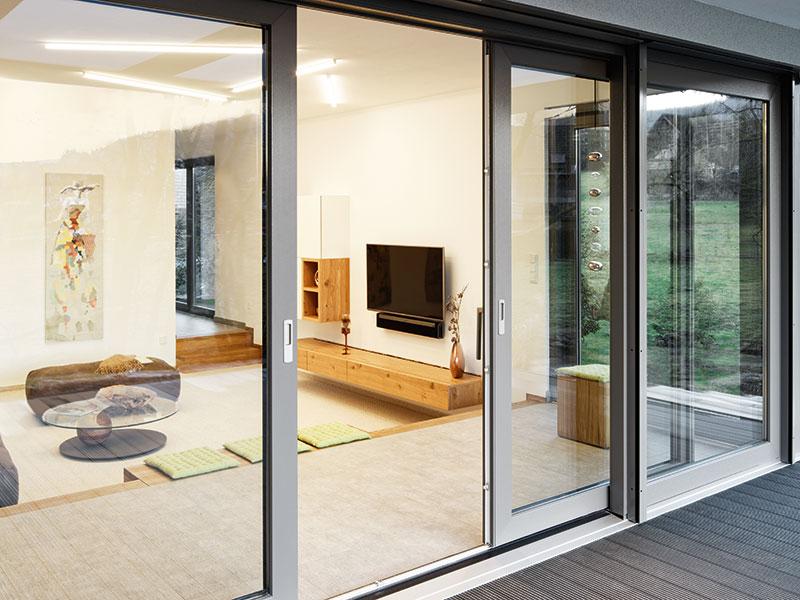 Glasschiebetür Wohnzimmer